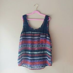 YA LA Sheer Tribal Sleeveless Top